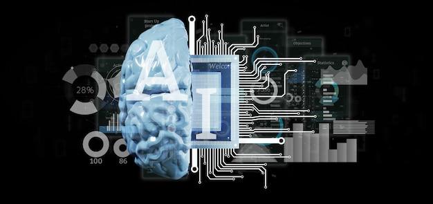 Ikone der künstlichen intelligenz mit halber wiedergabe des gehirns und des halben stromkreises 3d