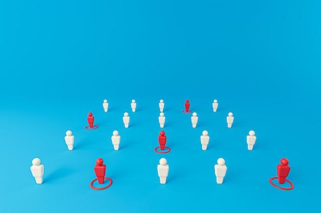 Ikone vieler menschen, die auf einer blauen wand stehen, und soziale distanzierung, um die ausbreitung des virus zu verhindern. soziales distanzkonzept. 3d-rendering.
