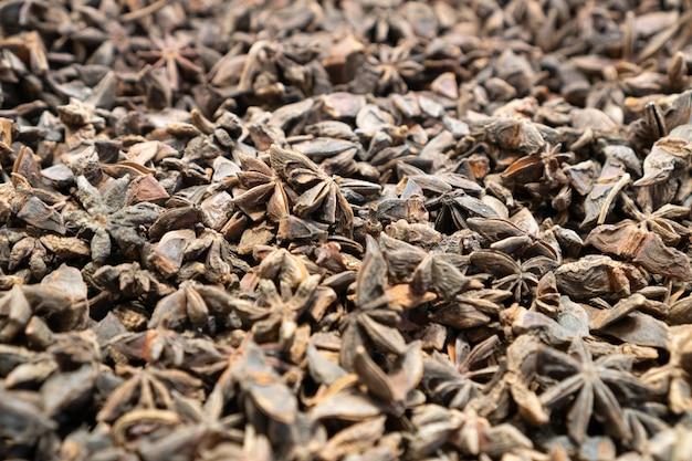 Illicium verum - ein gewürz, das allgemein sternanis, staranis, sternanissamen, chinesischer sternanis oder badian genannt wird. ansicht von oben.