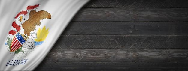 Illinois-flagge auf schwarzem holzwandbanner, usa. 3d-illustration