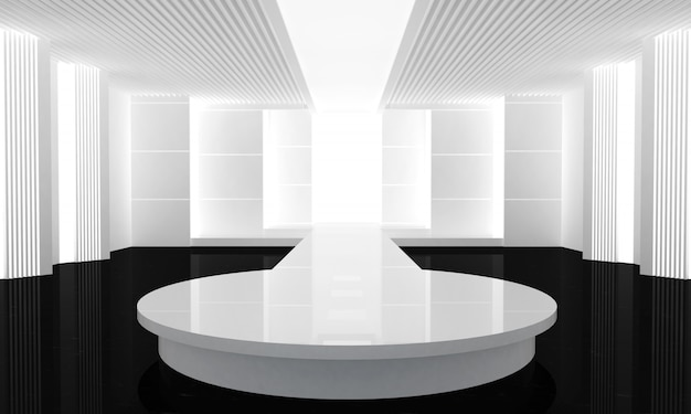 Illustration 3d der leeren laufbahn der mode. vor einer modenschau. 3d rendern