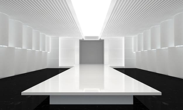 Illustration 3d der leeren laufbahn der mode. vor einer modenschau