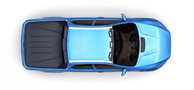 Illustration 3d des blauen konzeptfracht-kleintransporters auf weiß lokalisiert