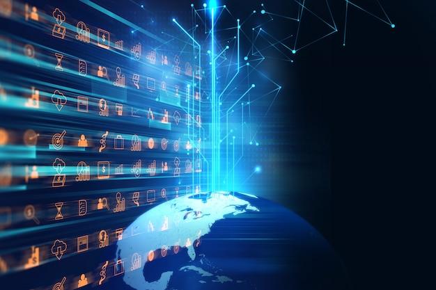 Illustration 3d des futuristischen erdkartentechnologie-zusammenfassungshintergrundes