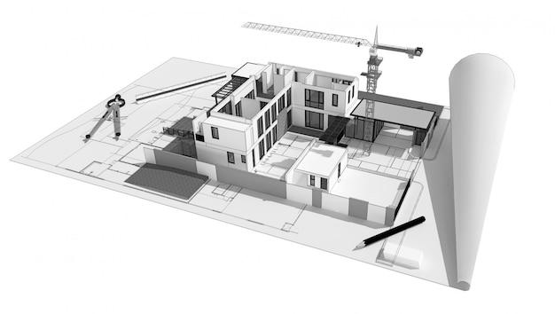 Illustration 3d des gebäudekonzeptkonzeptes, computererzeugte sichtbarmachung der architekten.