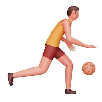 Illustration 3d des jungen athleten-mannes, der basketball über weißem hintergrund spielt.