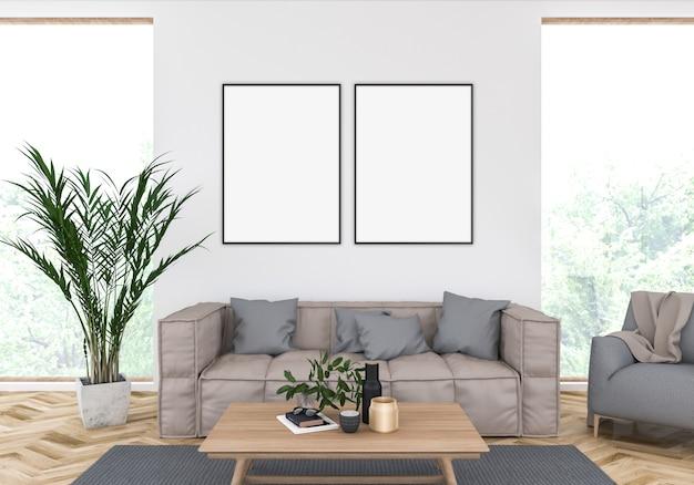 Illustration 3d des skandinavischen wohnzimmers mit leeren vertikalen rahmen, grafikanzeige