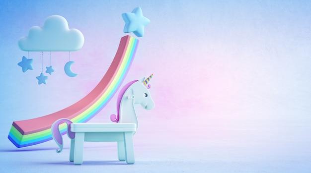 Illustration 3d des weißen spielzeugeinhorns und -regenbogens auf blauem boden mit buntem hintergrund.