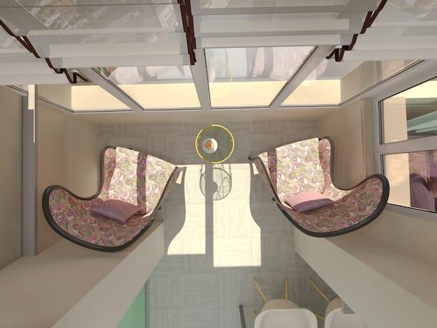 Illustration 3d von kleinen wohnungen in den pastellfarben. balkon