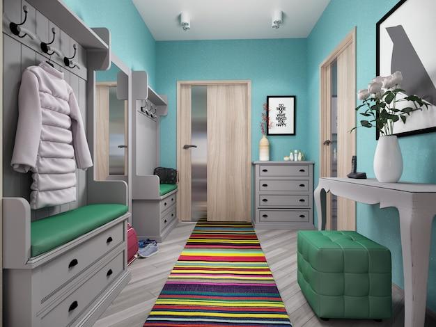 Illustration 3d von kleinen wohnungen in den pastellfarben.