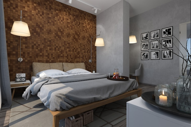 Illustration 3d von schlafzimmern in der skandinavischen art