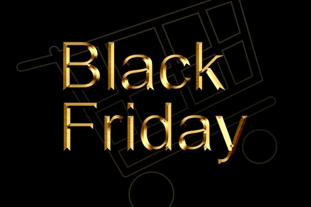 Illustration, black friday-verkauf. banner, poster, logo goldene farbe auf dunklem hintergrund.