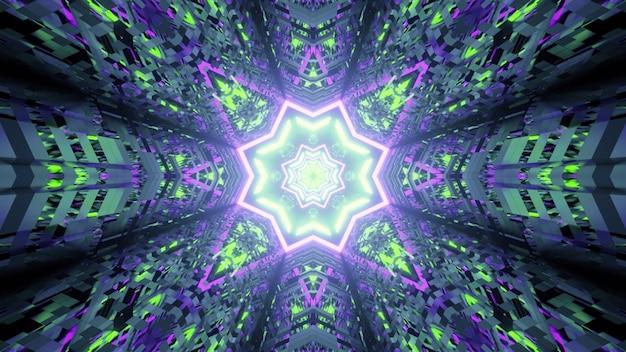 Illustration der bunten verzerrten verzierung, die sternförmigen tunnel bildet, der mit neonlicht glüht