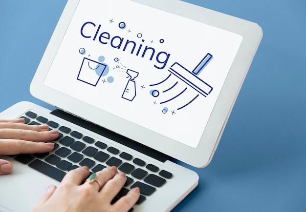 Illustration der hygienischen reinigung sanitär