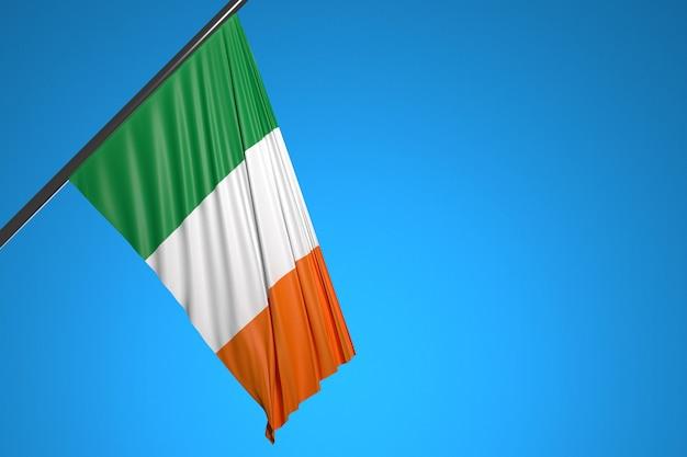 Illustration der nationalflagge von island auf einem metallfahnenmast, der gegen den blauen himmel flattert