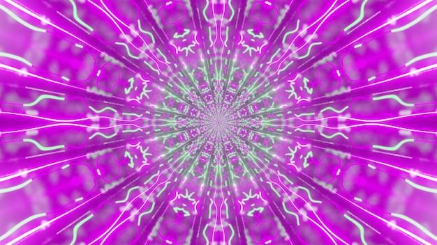 Illustration der psychedelischen verzierung, die mit hellen rosa und grünen neonlichtern glüht und tunnel bildet