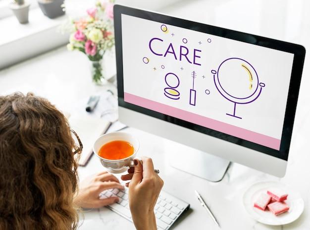 Illustration der schönheitskosmetik-makeover-hautpflege auf dem computer