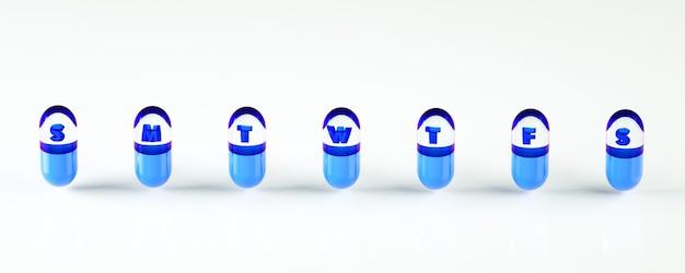 Illustration der wiedergabe 3d des wochensatzes pillenkapseln. tägliche zeitplanvorlage.