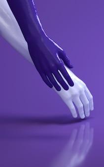 Illustration der wiedergabe 3d von mannhänden im purpurroten studio, das sich berührt. körperteile des menschen.