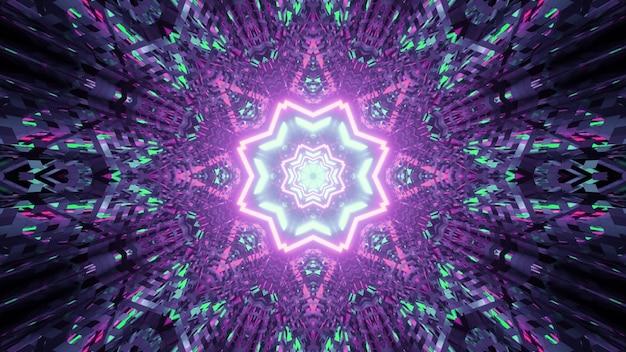 Illustration des abstrakten hintergrunds des lebendigen kaleidoskopischen tunnels in form des sterns mit leuchtenden lila und grünen lichtern