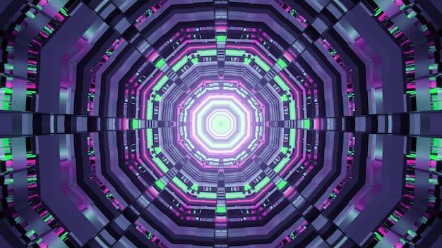 Illustration des abstrakten hintergrunds des runden geformten futuristischen tunnels mit purpurroter und grüner neonbeleuchtung