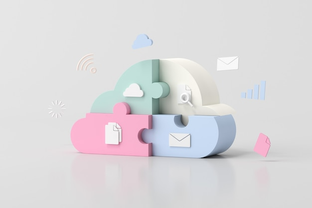 Illustration des cloud-computing-konzeptdesigns, puzzleteile, 3d-rendering.