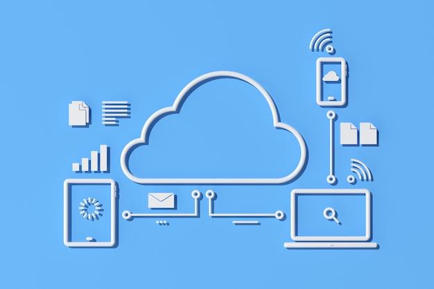 Illustration des cloud-computing-konzeptdesigns, umrissstil. 3d-rendering.