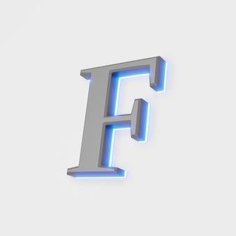 Illustration des glühenden buchstabens f auf weißem hintergrund. 3d-darstellung