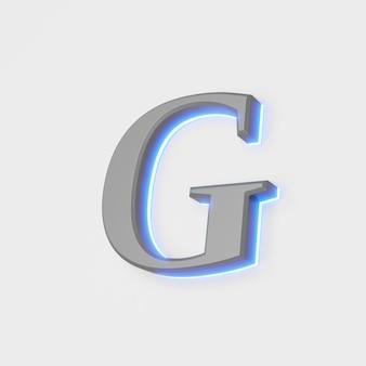 Illustration des glühenden buchstabens g auf weißem hintergrund. 3d-darstellung