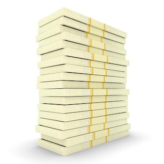 Illustration des großen geldstapels von dollar-usa. finanzkonzepte. 3d-rendering