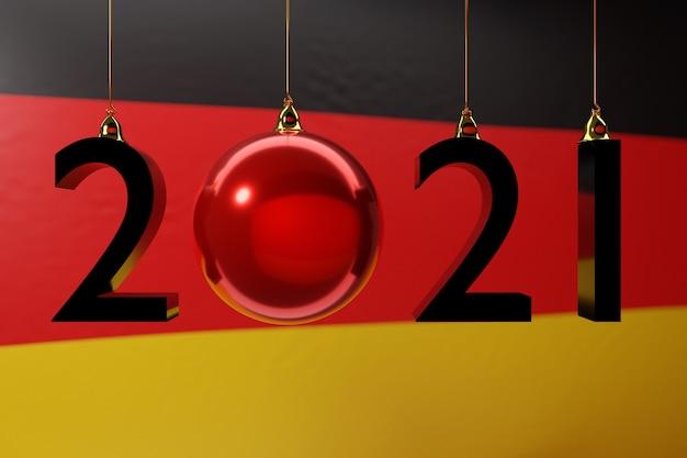 Illustration des guten rutsch ins neue jahr vor dem hintergrund der nationalflagge von deutschland
