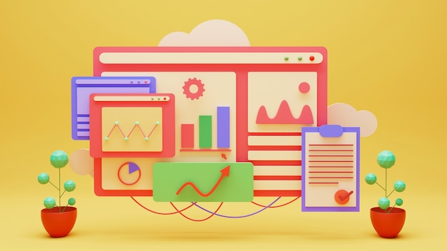 Illustration des infografik-dashboards oder der website