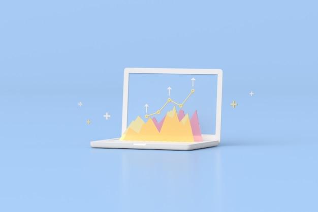 Illustration des laptops mit aktienhandelsdiagramm, wachsendem strategiediagramm, cloud-computing. 3d-rendering.