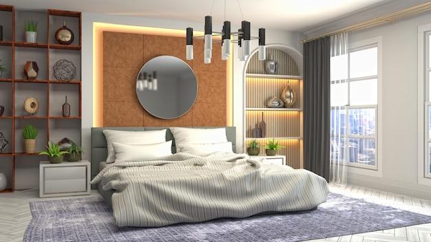 Illustration des schlafzimmerinnenraums