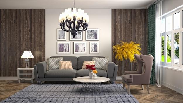 Illustration des wohnzimmerinnenraums