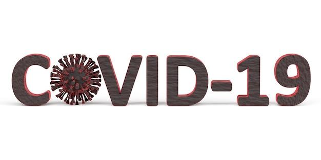 Illustration des wortes covid-19 mit dem auf weiß isolierten virus coronavirus. 3d-rendering