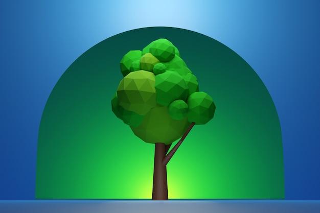 Illustration ein großer grüner laubbaum mit einem schatten