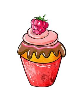 Illustration einer farbigen zeichnung von süßigkeiten orange dessert mit sahne mit schokolade überzogen und