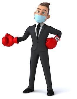 Illustration einer zeichentrickfigur mit einer maske