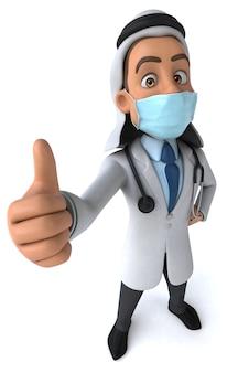 Illustration eines arztes mit einer maske