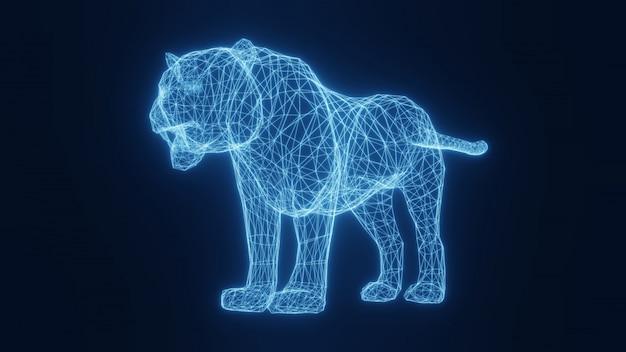 Illustration eines blauen neon leuchtenden tigers von einem dreidimensionalen gitter. 3d-rendering.