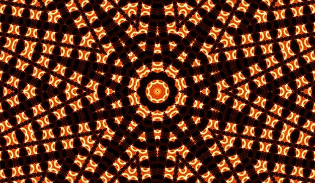 Illustration eines hellen fraktalen kaleidoskops von fackeln und sonne mit spiralen.