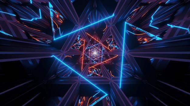 Illustration eines kosmischen hintergrunds mit orange neonlaserlichtern