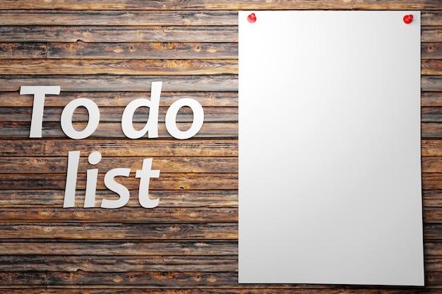 Illustration eines weißen blattes papier zum schreiben von aufgaben erinnerungen an eine einkaufsliste