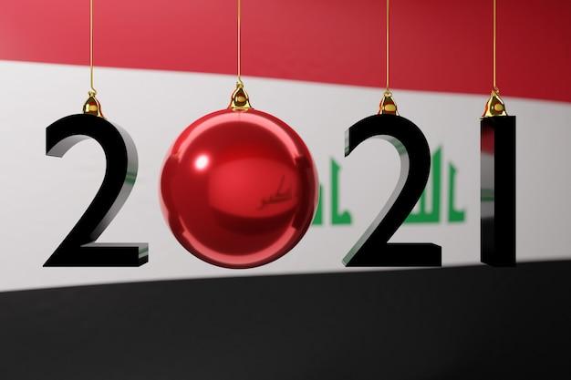 Illustration frohes neues jahr vor dem hintergrund der nationalflagge des irak