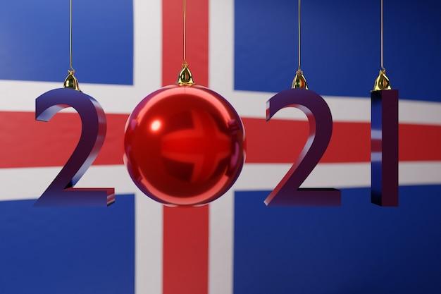 Illustration frohes neues jahr vor dem hintergrund der nationalflagge von island