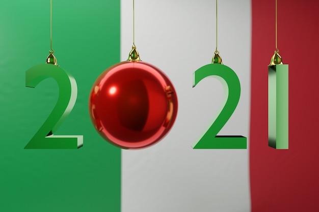 Illustration frohes neues jahr vor dem hintergrund der nationalflagge von italien