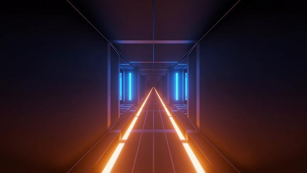 Illustration mit coolen futuristischen sci-fi-technolichtern