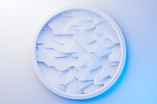 Illustration von 3d-reihen von blauen und weißen metallkristallen. patter auf einem monochromen hintergrund, muster. geometrischer hintergrund, webmuster.
