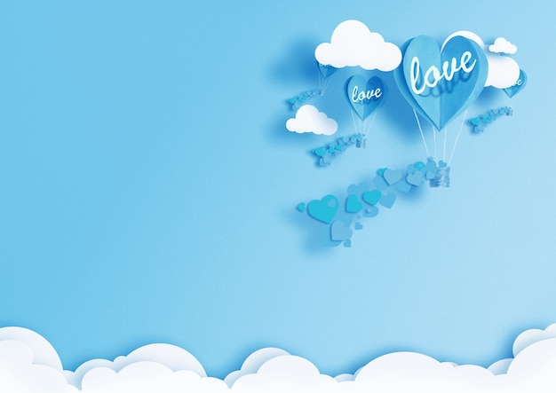 Illustration von ballons in form von herzen, die in den himmel fliegen.